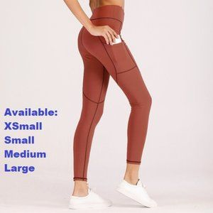 High Waist Red Leggings with pockets